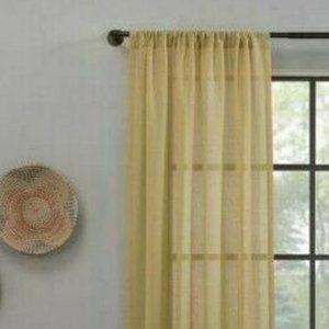 "CLEAN WINDOW Textured Slub Stripe Anti-Dust Curtain 52""x63"" Yellow Panel Cottage"
